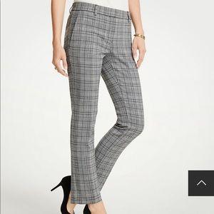 Ann Taylor black & white plaid ankle pants 10
